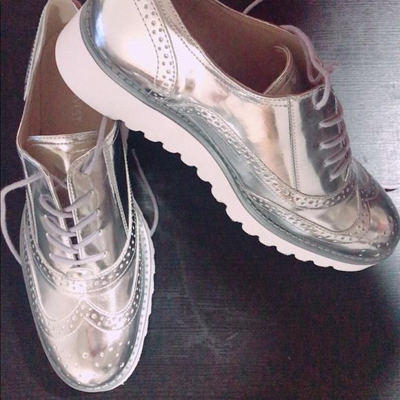 Nine West Women Silver Oxford Shoes